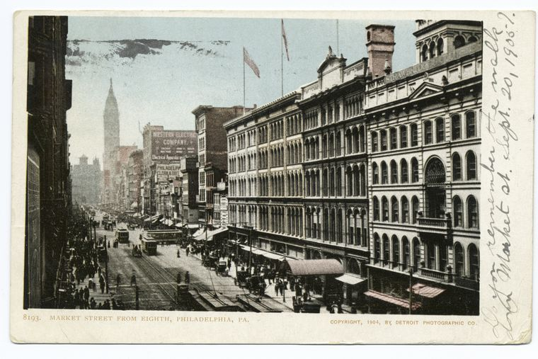 Postcard of Market Street from 8th, Philadelphia, Pa., early 20th century.