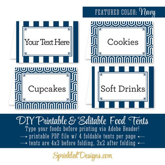 Nautical navy blue printable party food tents folding editable nautical navy blue printable party food tents folding editable buffet food labels escort place cards navy striped party decorations bookmarktalkfo Image collections