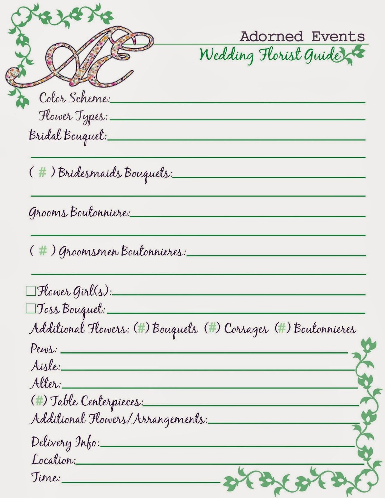 download these helpful wedding planning printouts for free