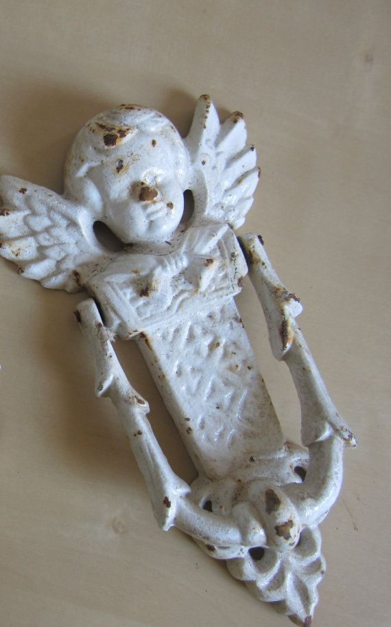 Shabby Chic Architectual Salvage Angel Door Knocker Home Decor Rusted White  Vintage Cast Iron Angel,