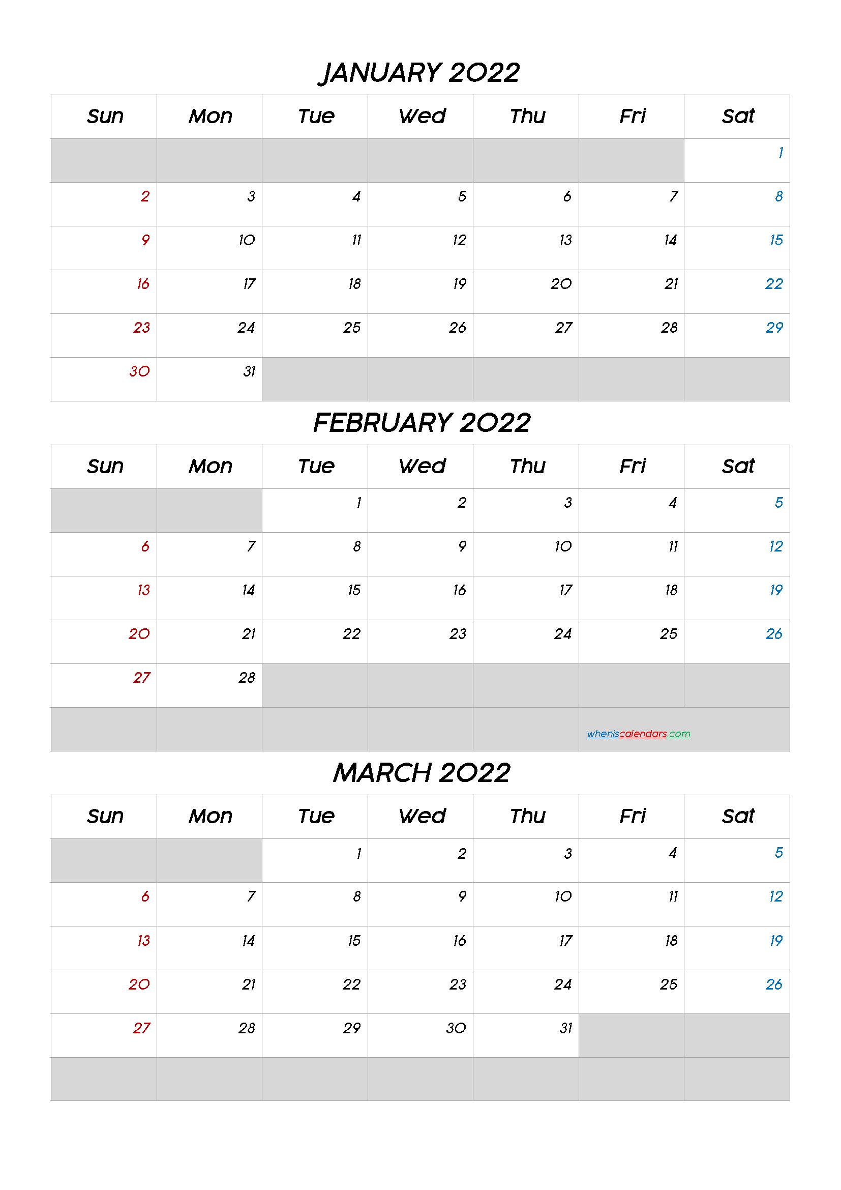 January February March 2022 Calendar Printable Q1 Q2 Q3 Q4 In 2020 Calendar Printables Calendar Template Printable Calendar Template