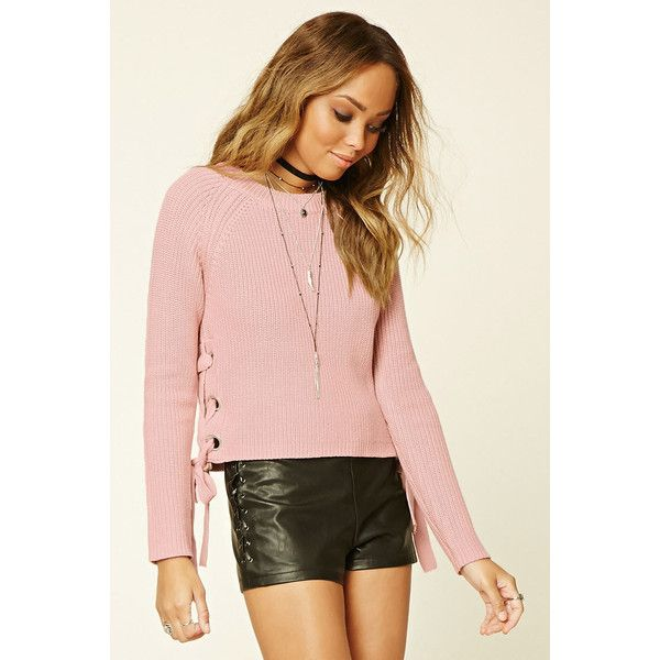 Forever21 Lace-Up Crew Sweater ($23) ❤ liked on Polyvore featuring tops, sweaters, dusty pink, long sleeve crew neck sweater, lace up long sleeve top, pink long sleeve top, crew sweater and forever 21