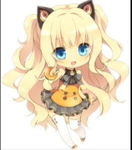 Anime girl neko chibi blond hair cat ears