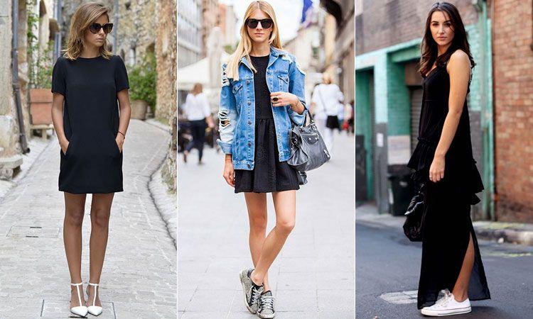 С чем носить черное платье в уличном стиле