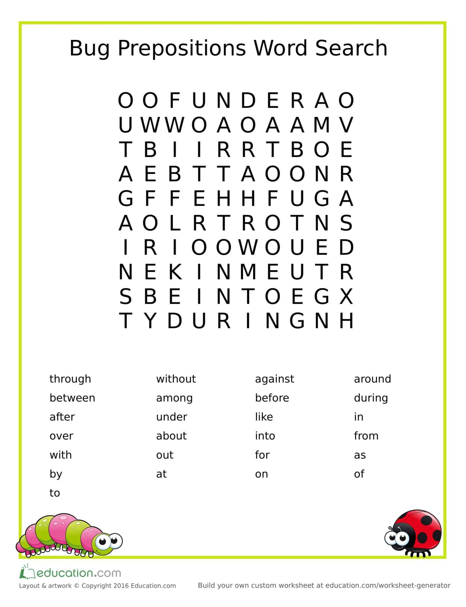 Bug Prepositions Word Search Freebie FreePrintable