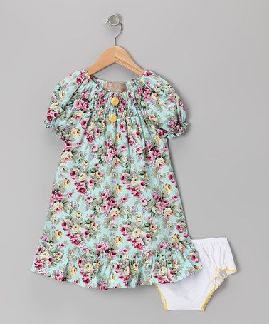 Take a look at this Blue & Yellow Rose Ruffle Peasant Dress - Infant ...
