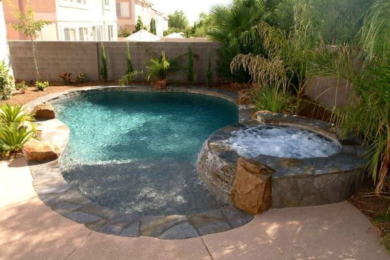 30 Brilliant Backyard Design Ideas With Swimming Pool That Look So Cool Trenduhome Backyard Pool Landscaping Backyard Pool Designs Backyard Design