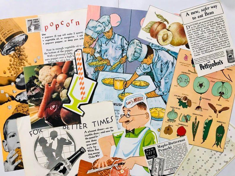 Vintage Food Junk Journal Theme Collage Kit Ephemera Pack 39 Piece Retro Scrapbook Recipe Journal In 2020 Vintage Recipes Vintage Junk Journal Food Themes