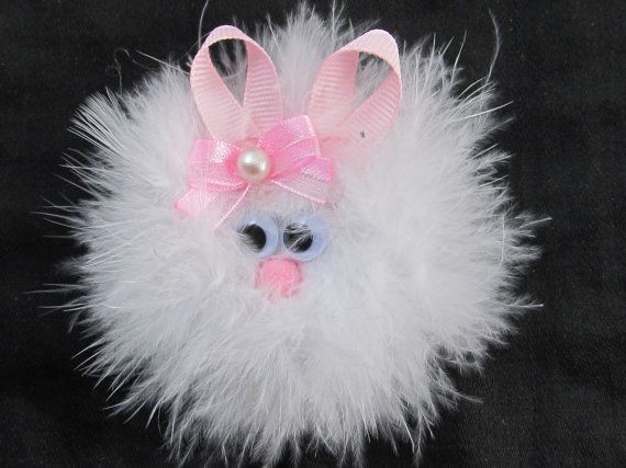 A pretty handmade White Feather Furry Bunny Rabbit Easter hair bow All handmade for perfection.    Will come with single alligator clip