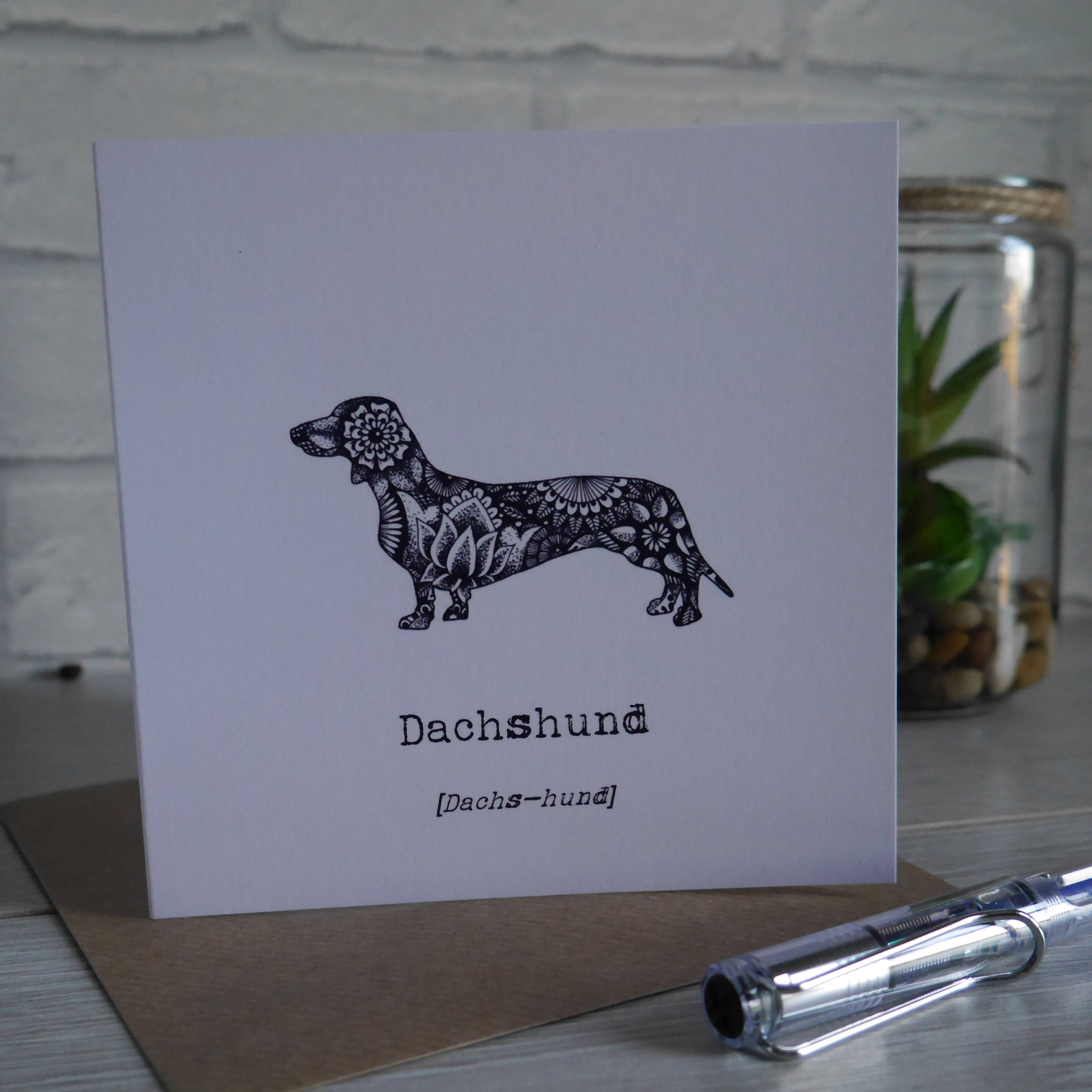 Dog Card Dachshund Dachshunds Gifts For Lovers Birthday Thank You Blank