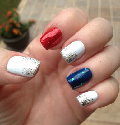 Easy Red White And Blue Nails Usa Nails Blue Shellac Nails July Nails