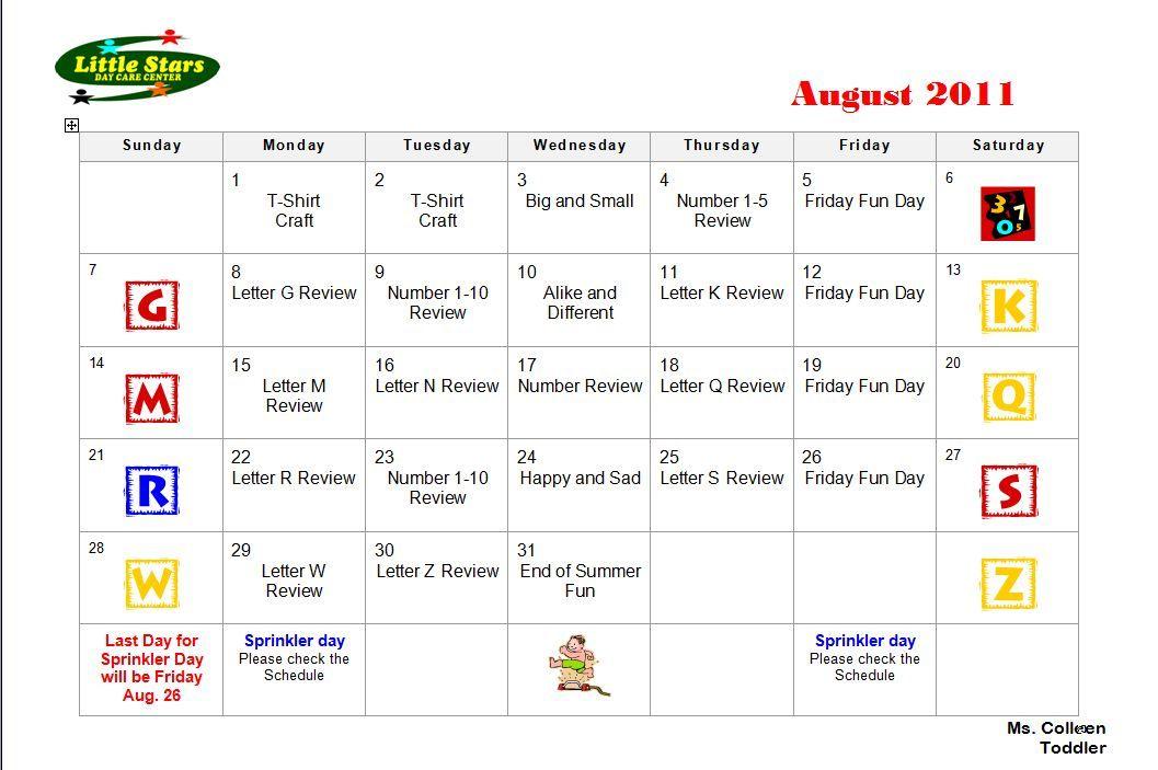 Little Stars Day Care Center August  Toddler Calendar  Baby