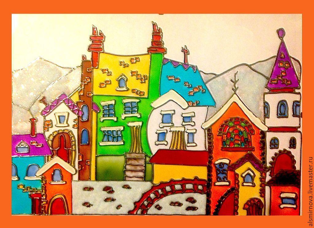 Купить Зимние домики - картина на стекле, витражная роспись - рыжий ...