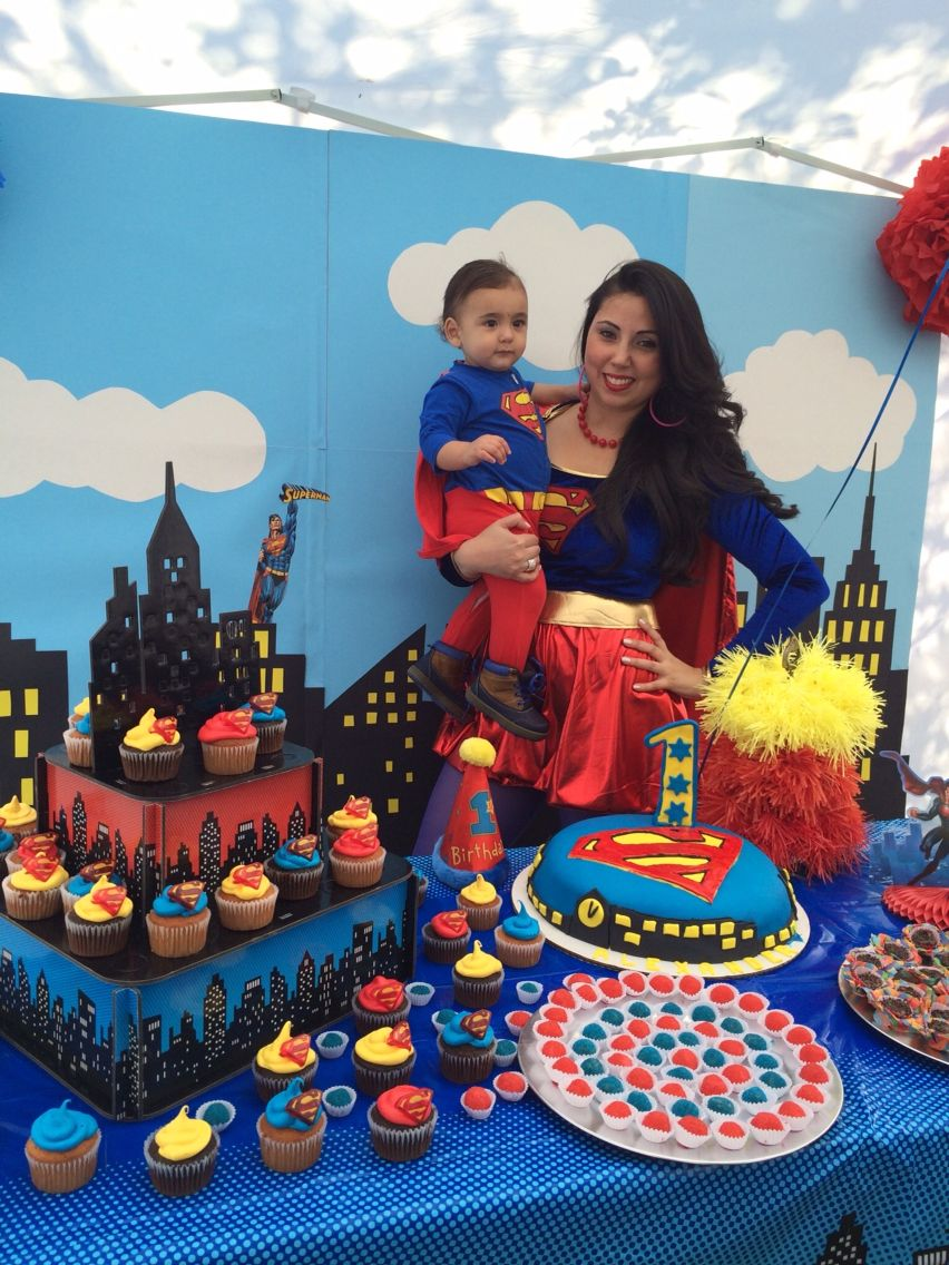 Superman Theme First Birthday Party
