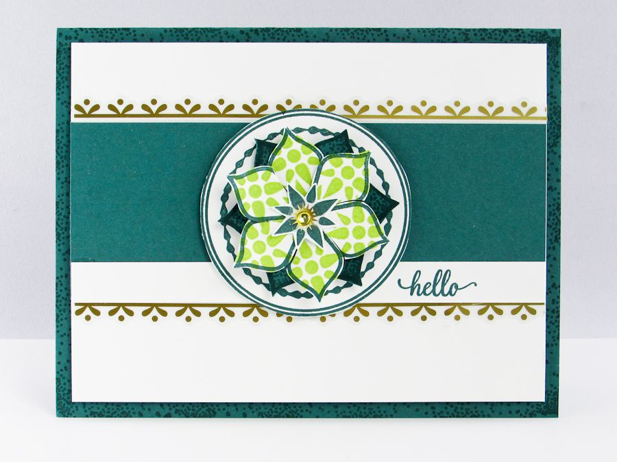 """Today's Eastern Palace """"Hello"""" Card design features a stunning Lemon Lime Twist Flower with Eastern Gold Vinyl Stickers."""