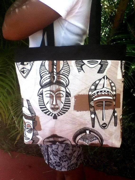 Shopping Tote African Mask by Minminsa on Etsy, $40.00