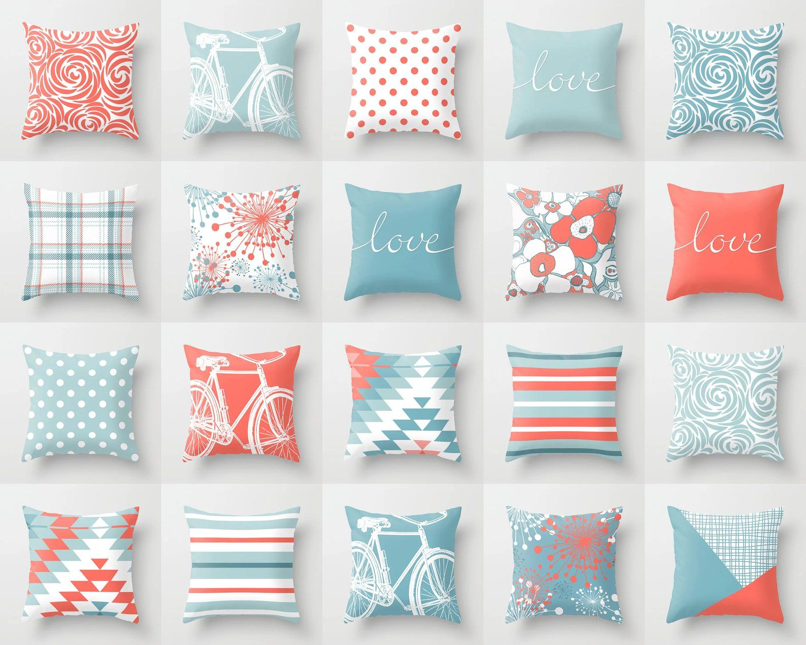 Living Coral Blue White Throw Pillow Mix And Match Indoor Etsy Pillow Mixing White Throw Pillows Throw Pillows