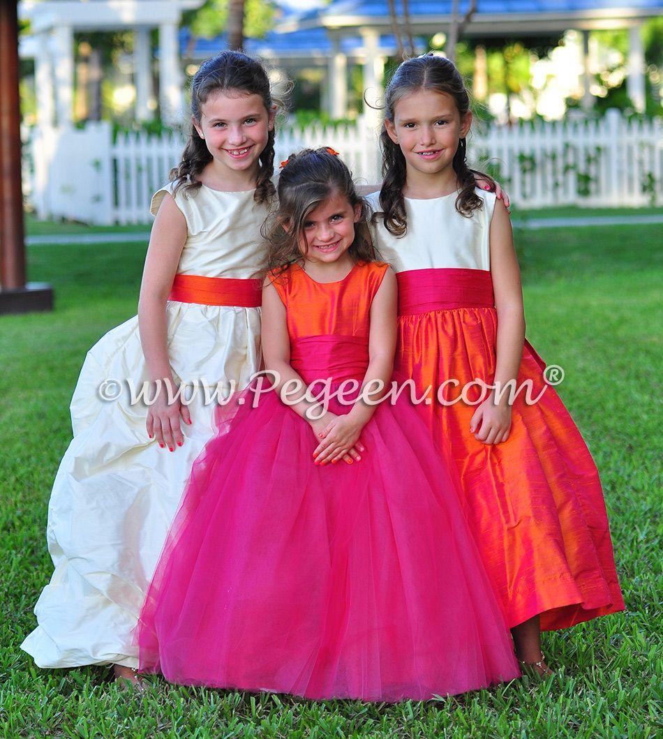 Flower Girl Dressesisland Wedding Of The Year 2014 In Mango Orange