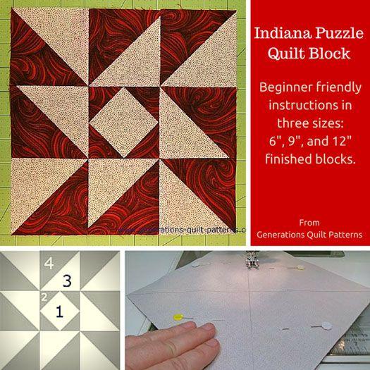 Indiana Puzzle Quilt Block Pattern: 6