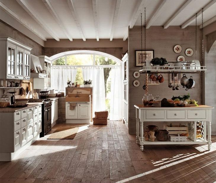 Kitchen , Country Style Kitchen Design For Warm Cooking Space Idea : Country  Style Kitchen Idea For Traditional Cooking Concept