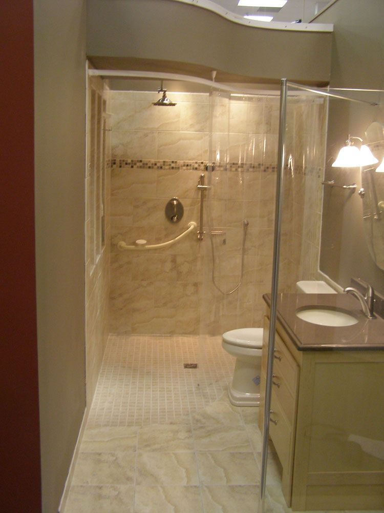 A Wheelchair Accessible 5 X 7 Bathroom Using The Tuff Form Wet Room Shower Base And Spec Handicap Bathroom Design Handicap Bathroom Remodel Handicap Bathroom