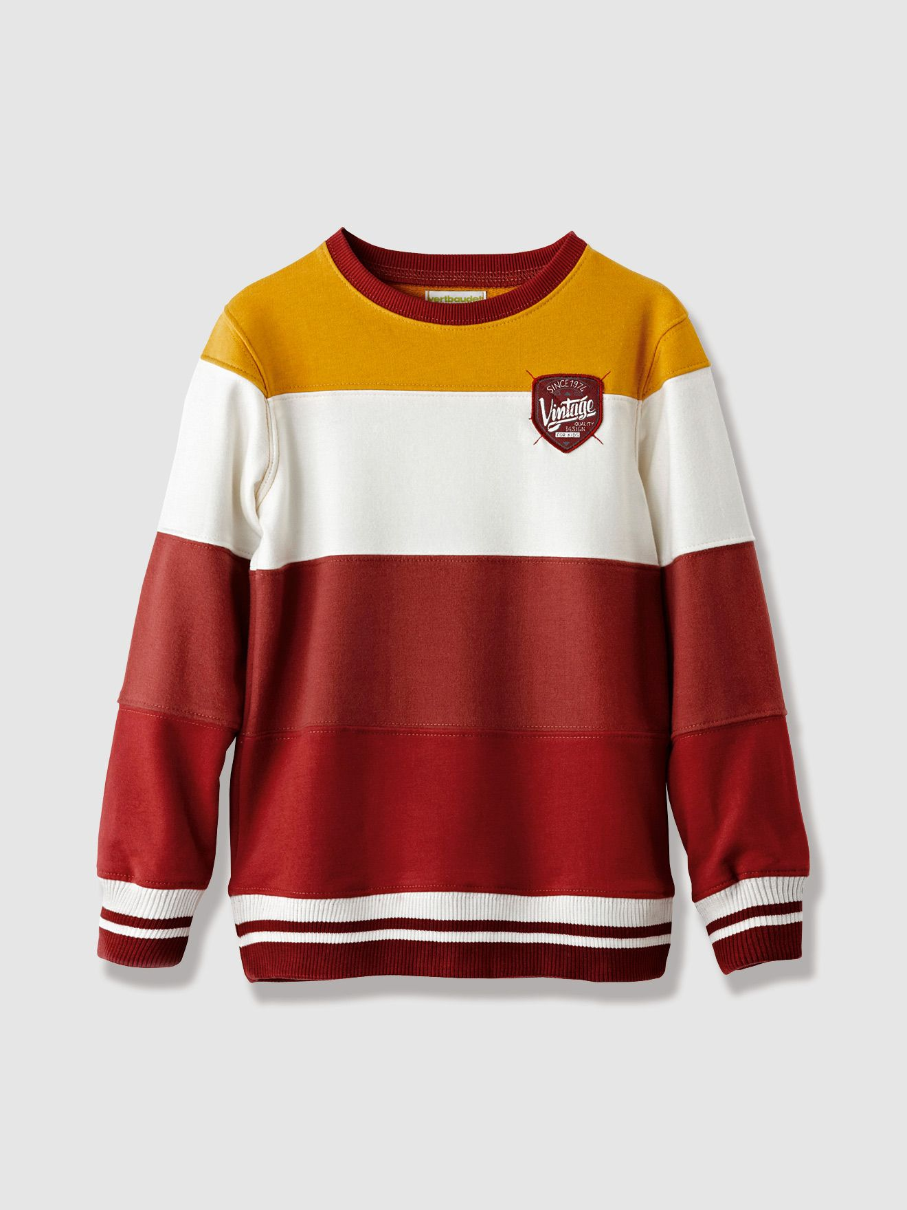 Vertbaudet Gestreiftes Sweatshirt für Jungen in rot gestreift