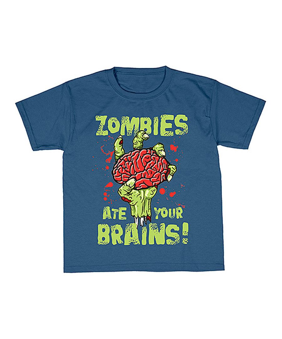 Look at this Art Brands Indigo 'Zombies Ate Your Brains' Tee on #zulily today!