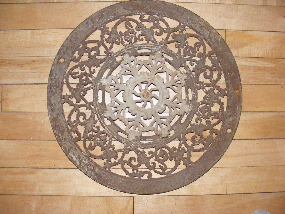 Vintage Cast Iron Round Floor Grate Heat Register Vent Adams Co 1897 Heat Registers Cast Iron Vintage