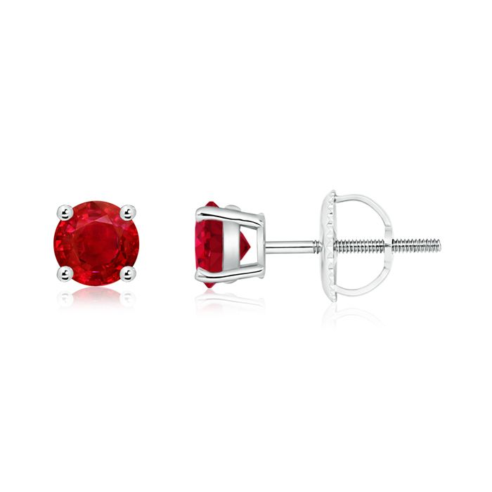 Angara Double Claw-Set Trillion Ruby Stud Earrings in White Gold pEOGqvbrj