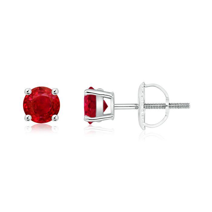 Angara Diamond Ruby Stud Earrings with Basket-Settings in Platinum GiFBWYQ3