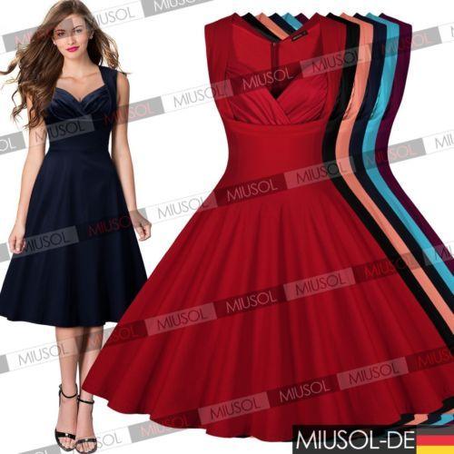 Details zu Damen Vintage 50er kleid Cocktailkleid Abendkleid ...