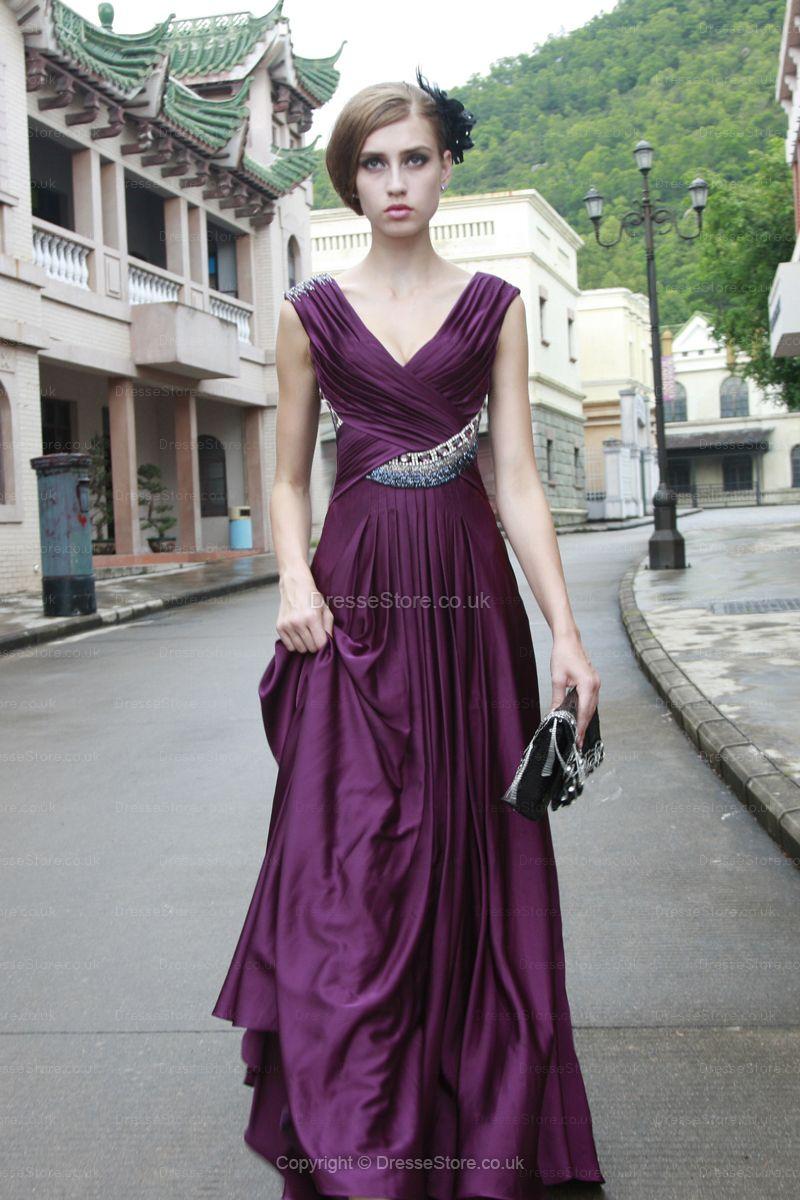 Dress for wedding evening party  Aline Vneck Silklike Satin Floorlength Purple Criss Cross