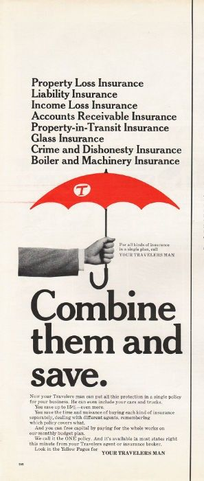 1965 Travelers Insurance Vintage Magazine Advertisement Combine
