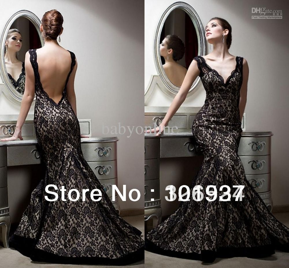 Wholesale designer fall new open back prom dresses v neck black