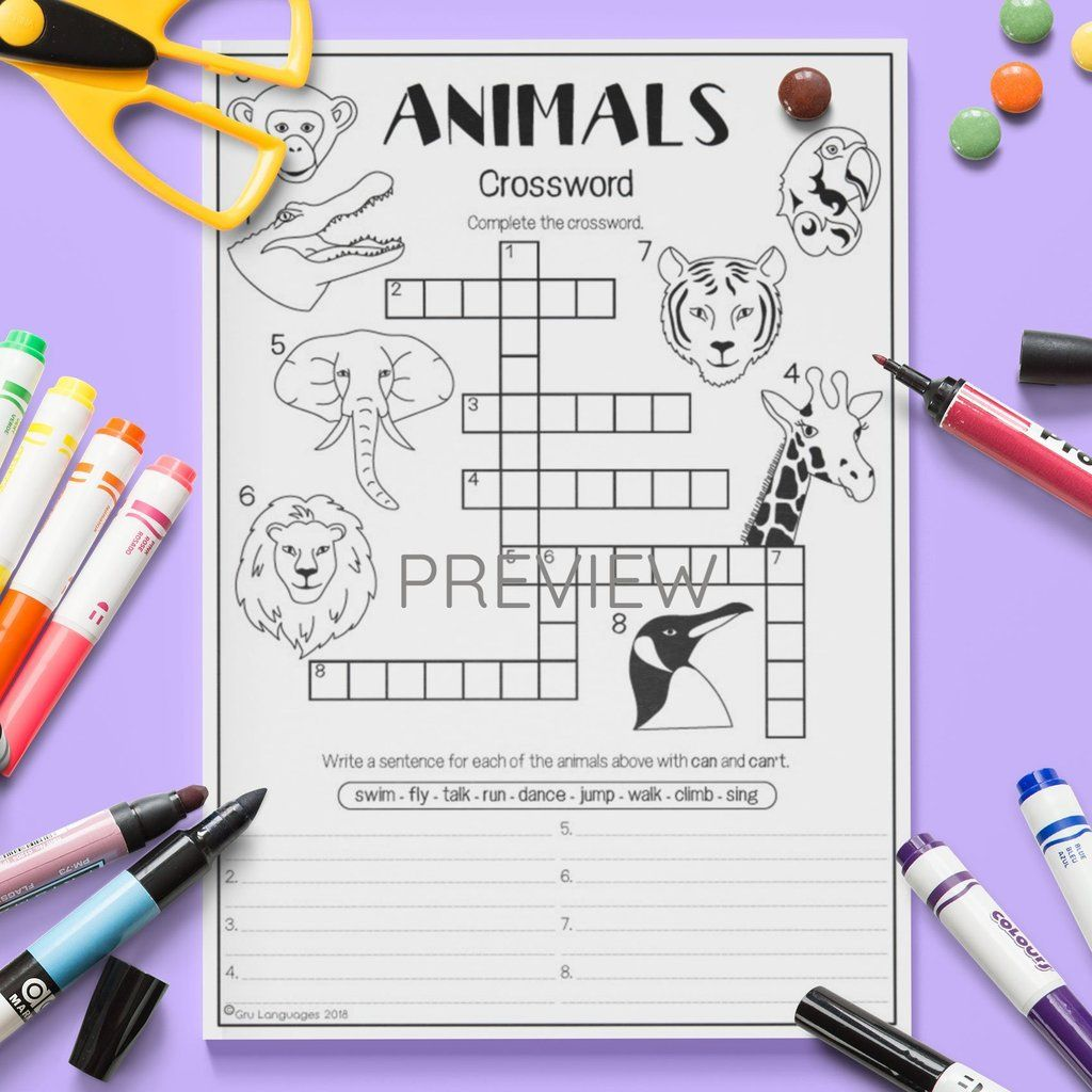 Wild Animals Crossword In