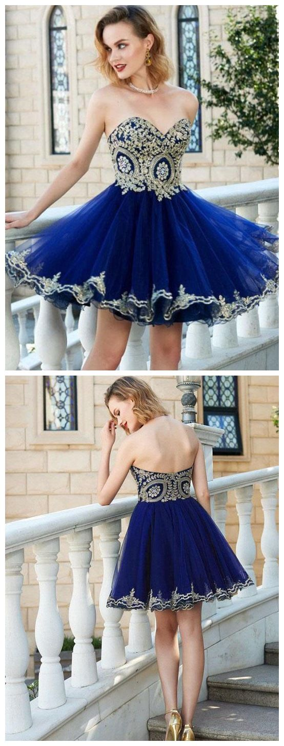 Navy tulle with gold lace appliqued sweetheart neck homecoming