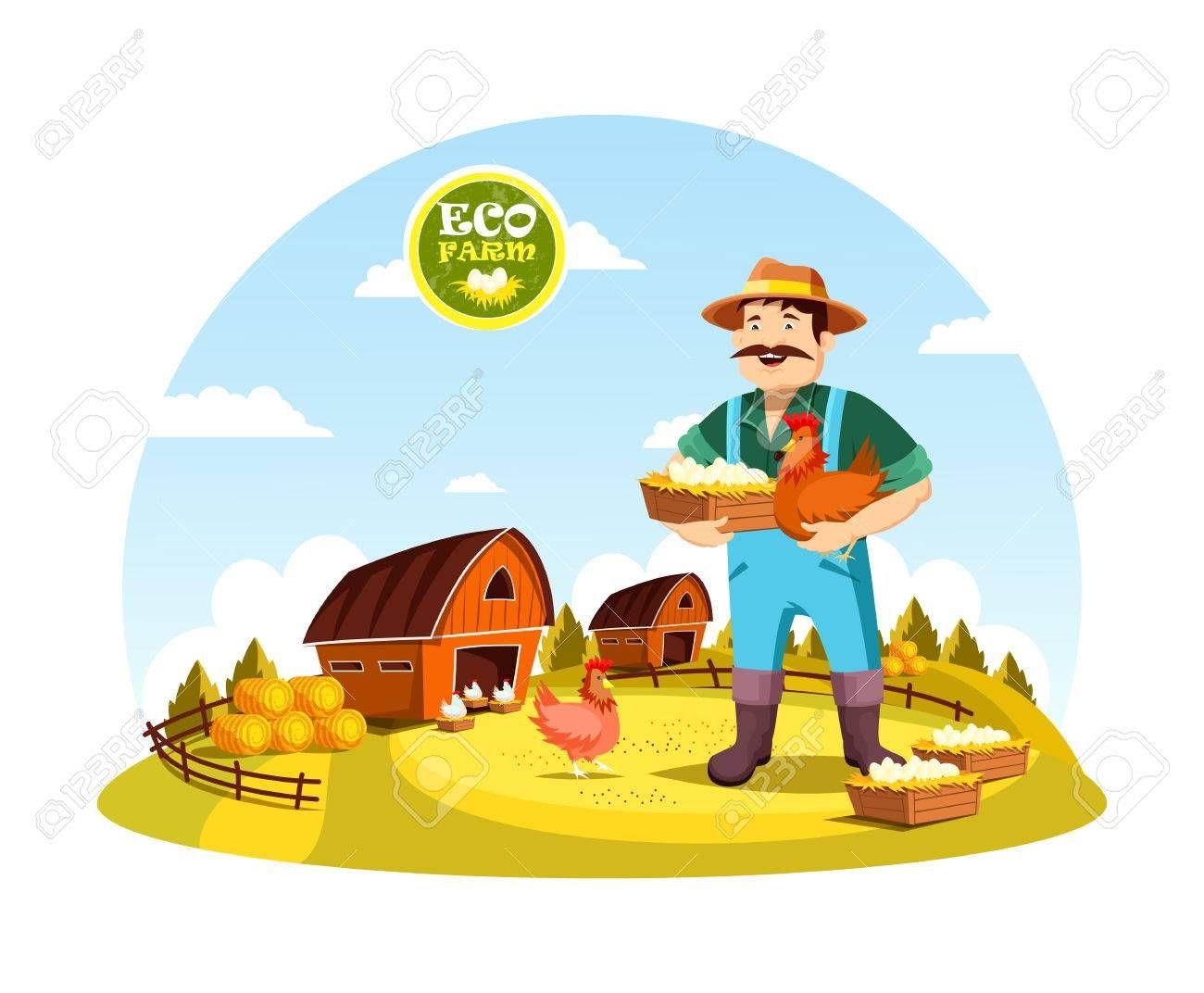 Eco Granja Con Agricultor De La Celebracion De Huevos Y Gallina Cerca De Campo Con Graneros Y Heno Hombre De Dibujos Animados O Persona Con Alimentos Organicos Gallinas Agricultor Dibujos