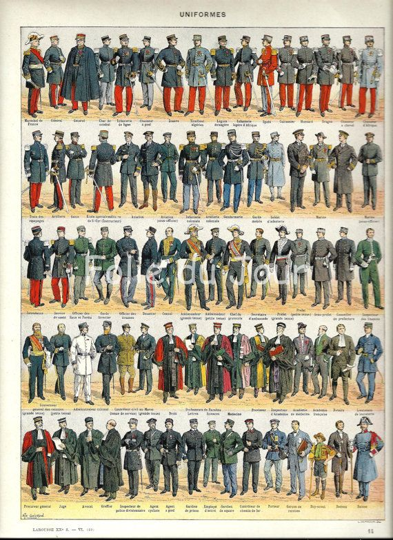 French Military Uniforms France - Vintage French Larousse ...