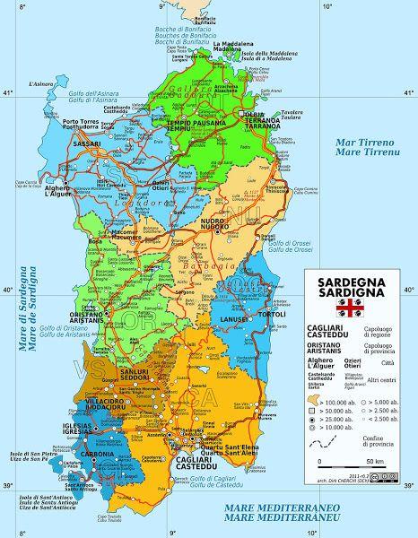 Mapa da Ilha da Sardenha Itlia 1852 CB Transport Maps