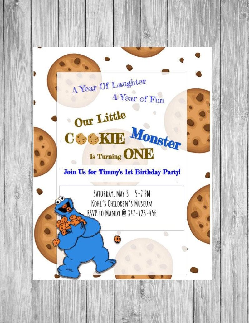 Cookie Monster Invitation - Sesame Street party - Cookie Monster ...