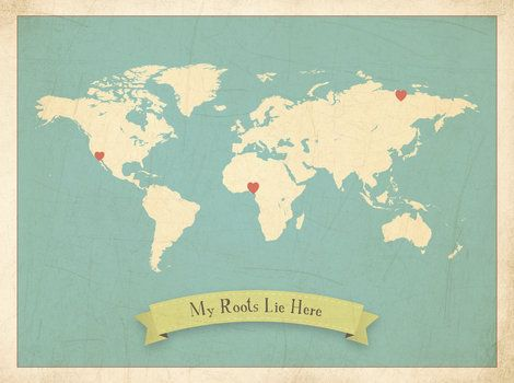 My Roots Customizable World Map, Canvas or Print, Travel ...