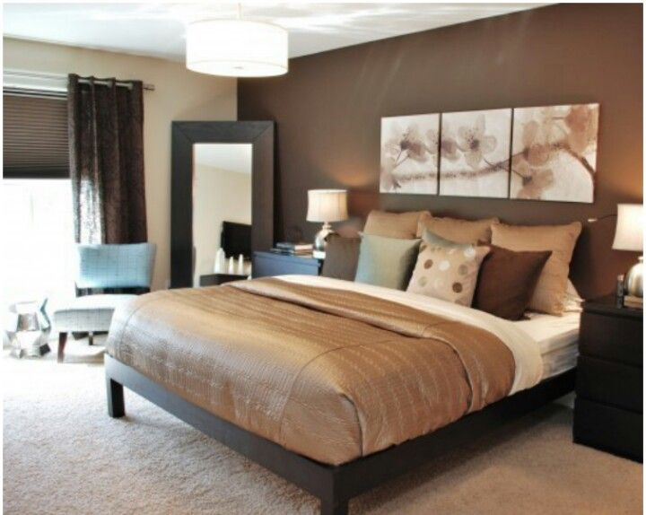 Master Bedroom Idea- solid, neutral bed cover with accent pillows to