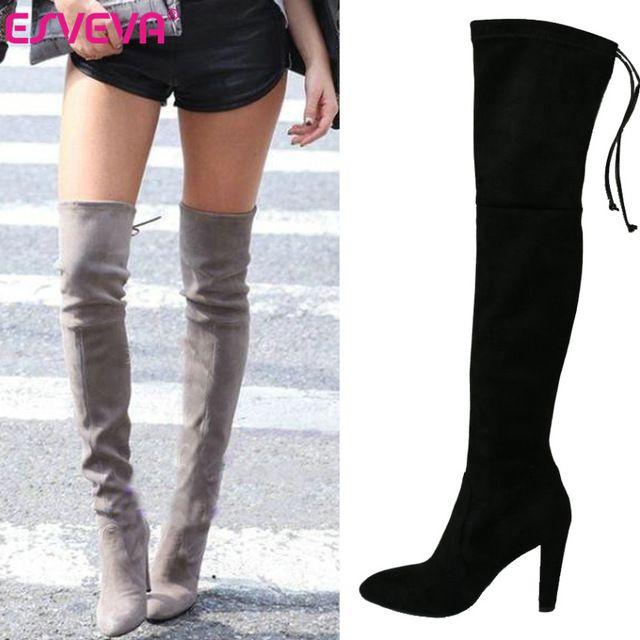 bb66f7795eaf3 ESVEVA moda Sexy punta redonda sobre la rodilla botas para las mujeres  zapatos sexy de invierno botas largas de plataforma