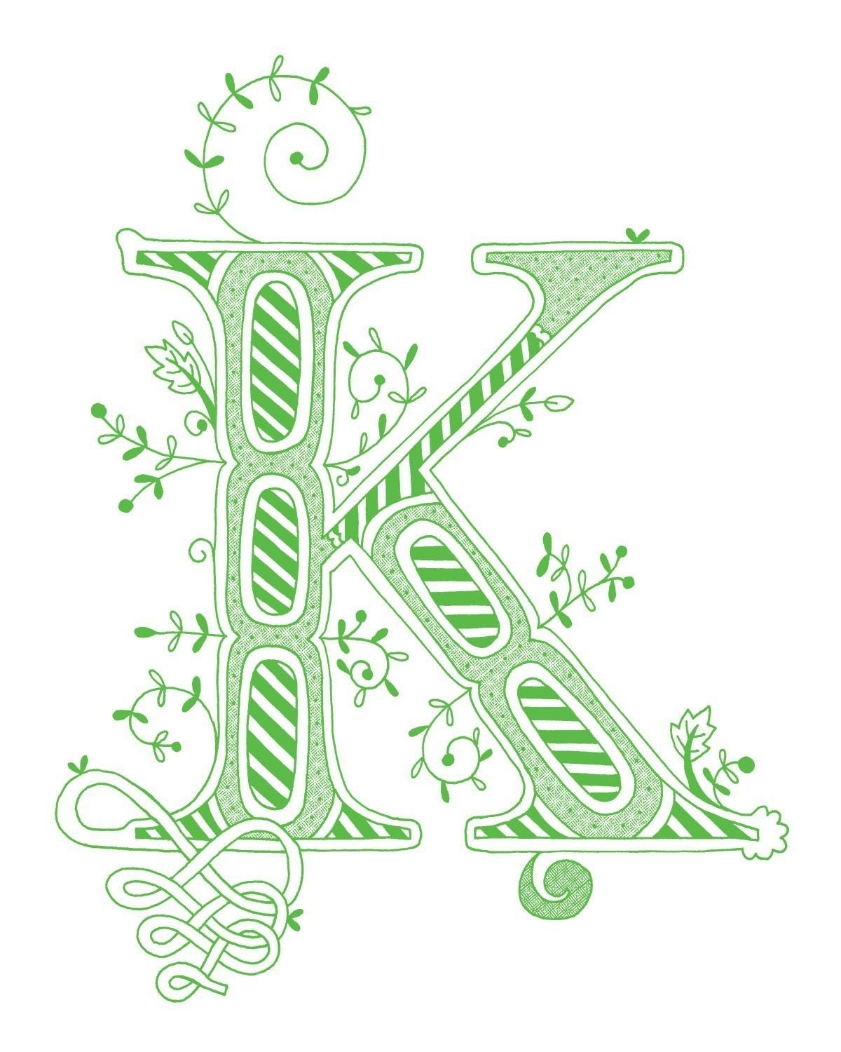 Hand drawn monogrammed print, 8x10, the Letter K, in the color green ...