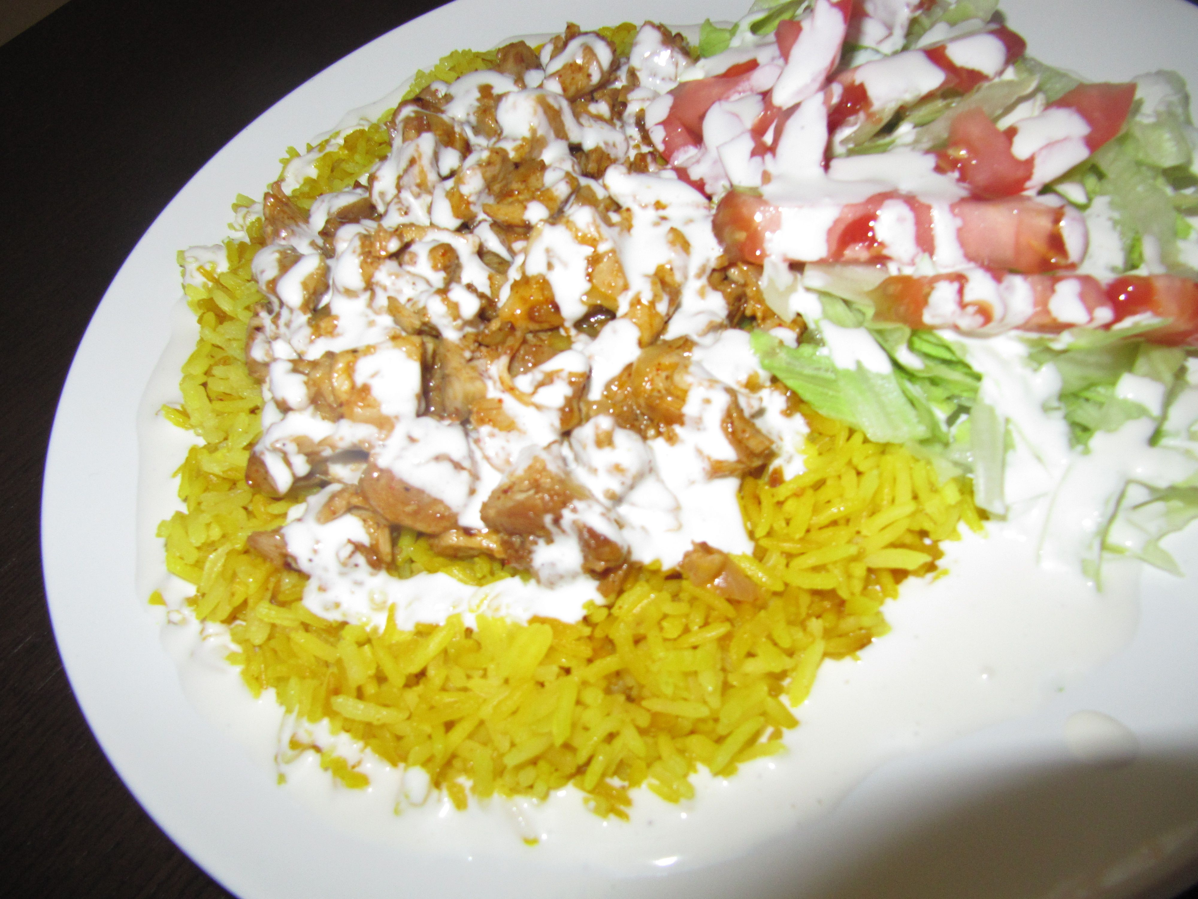Halal Chicken Over Rice Featuring The Famous White Sauce White Sauce Recipes Chicken Recipes White Rice Recipes