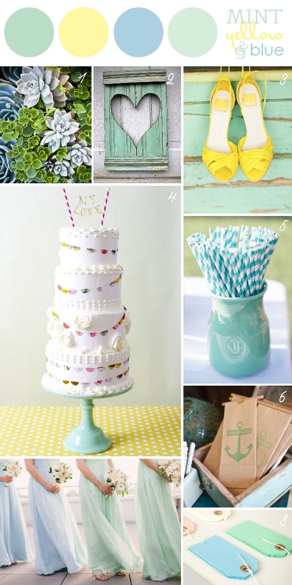 Mint Yellow Blue Wedding Color Palette