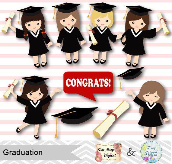Art Girls Virtual Preschool: Graduation Girls Clipart, Girls Graduate DIgital Clip Art
