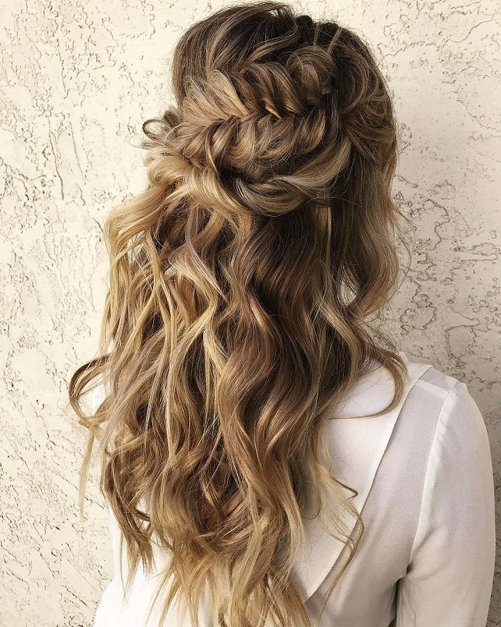 Braided Wedding Hair: Beautiful Half Down Half Up Braided Hairstyle With Curls