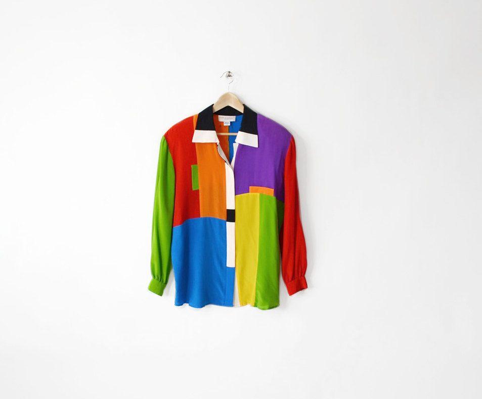 Vintage ROYGBIV Colorblock Silk Blouse. $42.00