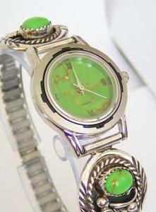 Gaspeite and Mohave Green Kingman Turquoise Sterling Silver Watch. Native American $152